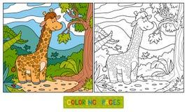 Libro de colorear (jirafa) stock de ilustración