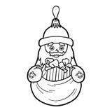 Libro de colorear, juguete del árbol de navidad, Santa Claus ilustración del vector