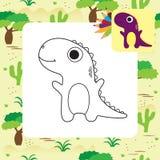 Libro de colorear lindo de Dino de la historieta Foto de archivo