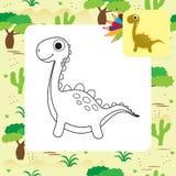 Libro de colorear lindo de Dino de la historieta Imágenes de archivo libres de regalías