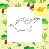 Libro de colorear lindo de Dino de la historieta Foto de archivo libre de regalías