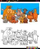 Libro de colorear de los caracteres de los gatos y de los perros Stock de ilustración