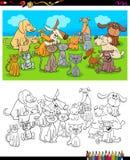 Libro de colorear de los caracteres de los perros y de los gatos Stock de ilustración