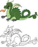 Libro de colorear mítico del dragón Imagen de archivo