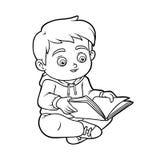 Libro de colorear, muchacho joven que lee un libro