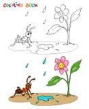 Libro de colorear o página Florezca la margarita con la hormiga, él está lloviendo stock de ilustración