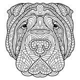 Libro de colorear para los adultos Libro del perro La cabeza de un perro Sharpay con el modelo tribal stock de ilustración