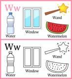 Libro de colorear para los niños - alfabeto W ilustración del vector