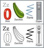 Libro de colorear para los niños - alfabeto Z Imágenes de archivo libres de regalías