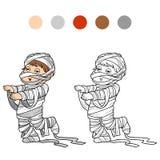 Libro de colorear para los niños: Caracteres de Halloween (momia) Foto de archivo libre de regalías