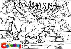 Libro de colorear para los niños con un dinosaurio pintado a mano en estilo de la historieta libre illustration