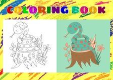 Libro de colorear para los niños Pequeña serpiente azul incompleta Imagen de archivo libre de regalías