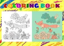 Libro de colorear para los niños Pequeño zorro rosado incompleto en el bosque Imagenes de archivo