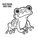 Libro de colorear, rana azul del dardo del veneno libre illustration