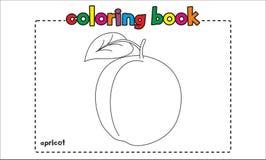 Libro de colorear simple del albaricoque para los niños y los niños Imagenes de archivo