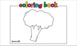 Libro de colorear simple del bróculi para los niños y los niños Imagen de archivo