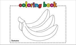 Libro de colorear simple del plátano para los niños y los niños Imagenes de archivo