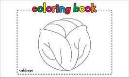 Libro de colorear simple de la col para los niños y los niños ilustración del vector