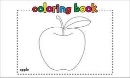 Libro de colorear simple de la manzana para los niños y los niños stock de ilustración