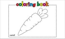 Libro de colorear simple de la zanahoria para los niños y los niños Foto de archivo