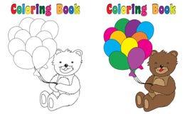 Libro de colorear Teddy Balloons Imagenes de archivo