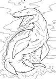 Libro de colorear y educación del ejemplo del Kronosaurus del dinosaurio ilustración del vector