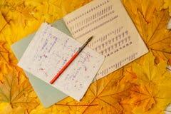 Libro de ejercicio de escuela vieja con una pluma de madera de la tinta en un fondo de hojas de arce amarillas Un libro de ejerci Foto de archivo