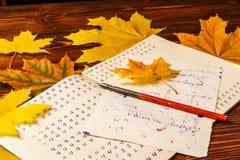 Libro de ejercicio de escuela vieja con una pluma de madera de la tinta y hojas de arce amarillas en un fondo de la madera vieja  Imágenes de archivo libres de regalías