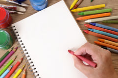 Libro de escuela de la escritura de la mano Fotografía de archivo libre de regalías