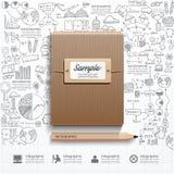 Libro de Infographic con estrategia del éxito del dibujo lineal de los garabatos Imagen de archivo libre de regalías
