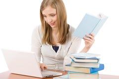 Libro de la computadora portátil del reloj de la mujer del adolescente del estudiante Imágenes de archivo libres de regalías