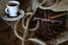 Libro de la cuerda del grano de café Imagen de archivo