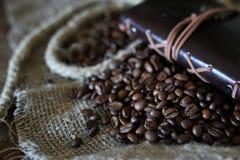 Libro de la cuerda del grano de café Imagenes de archivo