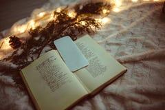 Libro de la decoración de la Navidad en el abrigo Imagenes de archivo