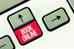 Libro de la escritura del texto de la escritura en línea Eventos de los billetes de avión de los alojamientos de la reserva del s fotos de archivo