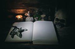 Libro de la magia imagenes de archivo