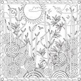 Libro de la página que colorea para el ejemplo de bambú del vector de la puesta del sol del diseño del japonés del formato cuadra Imágenes de archivo libres de regalías