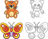 Libro de la paginación del colorante para los cabritos - gato y mariposa Fotos de archivo