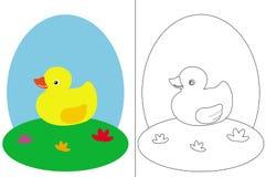 Libro de la paginación del colorante con un pequeño pato Fotos de archivo libres de regalías