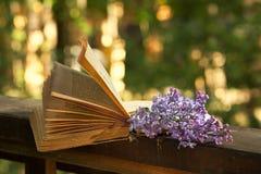 Libro de la poesía y de la ramificación de la lila Foto de archivo libre de regalías
