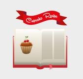 Libro de la receta de la magdalena Foto de archivo libre de regalías