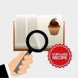 Libro de la receta de la magdalena Imágenes de archivo libres de regalías