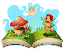 Libro de las hadas que vuelan en el jardín stock de ilustración