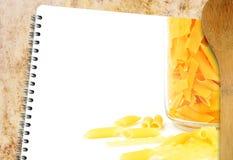 Libro de las pastas de la receta Fotografía de archivo