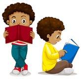 Libro de lectura africano del muchacho libre illustration