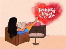 Libro de lectura de la chica joven para el día de las mujeres Imágenes de archivo libres de regalías