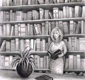 Libro de lectura de la mujer en biblioteca stock de ilustración
