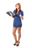 Libro de lectura de la mujer y el gesticular OK Imagen de archivo libre de regalías