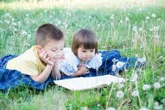 Libro de lectura de los niños en el parque que miente en el estómago al aire libre entre el diente de león en parque, los niños l imagenes de archivo