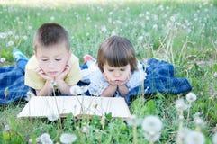 Libro de lectura de los niños que miente en el estómago al aire libre entre el diente de león en parque, los niños lindos educaci foto de archivo